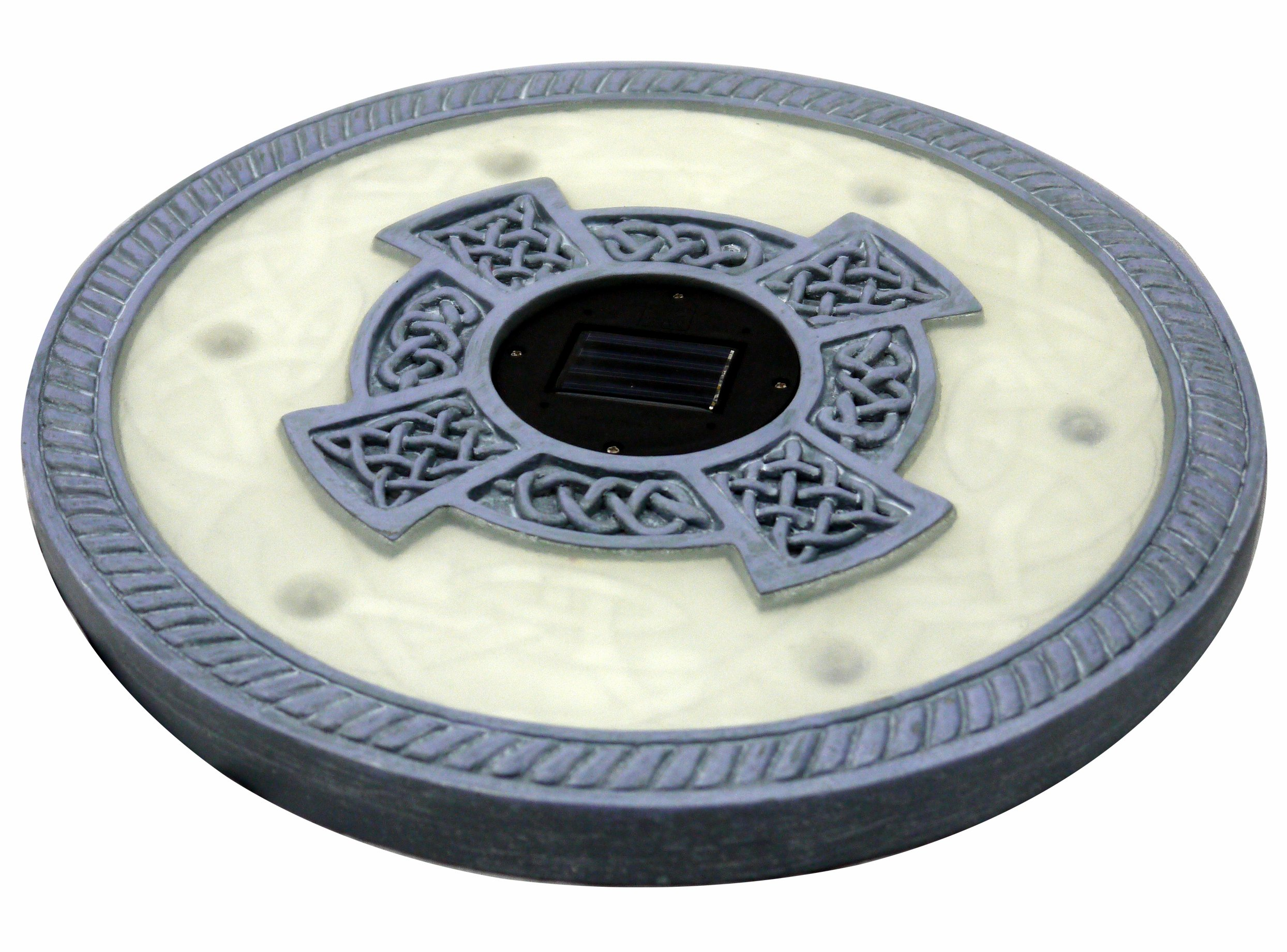 Homebrite Solar 33958/3 Solar Power 6 LED Round Stepping Stones, Oyster Grey