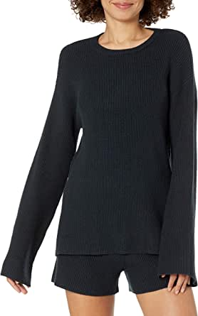 The Drop Women's Alice Crewneck Back Slit Ribbed Pullover Sweater