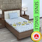 Divine Casa 100% Cotton Floral Single Bedsheet with 1 Pillow Cover - Grey and Green