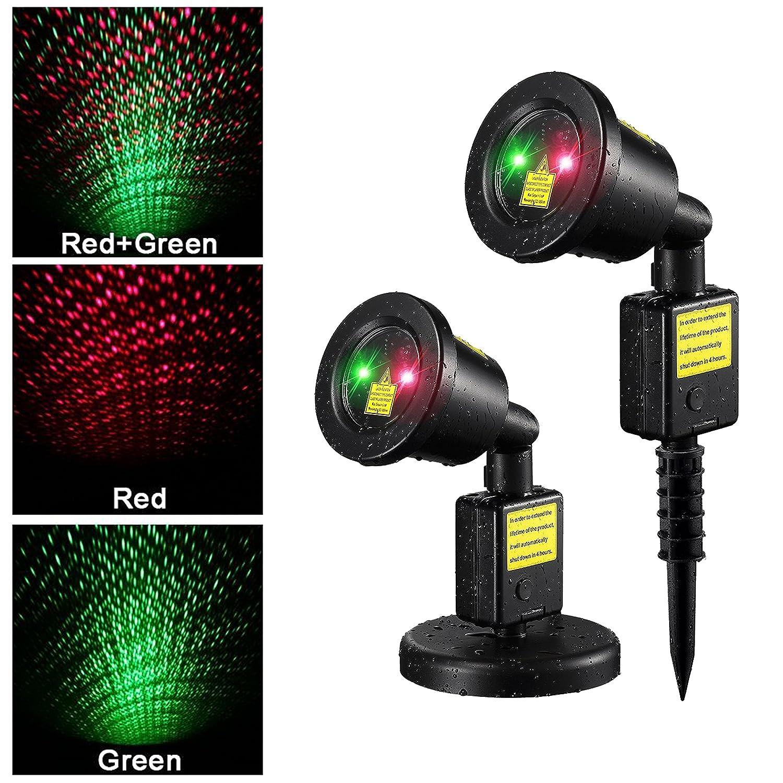 Laser Lights Outdoor Part - 38: Amazon.com : Starry Sky Outdoor Laser Lights, 7W Red U0026 Green 2 In 1 Dynamic  Lighting Star Projector Laser Spotlight Light Waterproof For Home, Garden,  ...