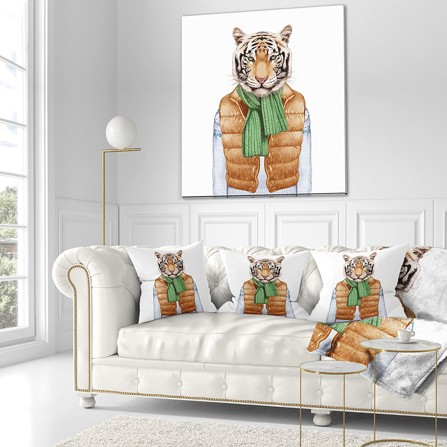 Designart CU13207-16-16 Tiger in Vest and Sweater Contemporary Animal Cushion Cover for Living Room Sofa Throw Pillow 16 in x 16 in in