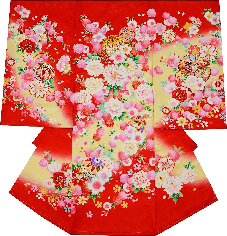 お宮参り 着物 女の子 初着 産着 正絹 毬 鼓 赤 女児 祝着 一つ身 着物タウン 3370-01168