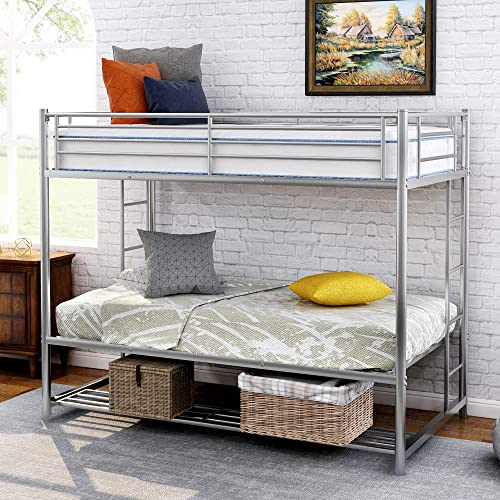 Twin Over Twin Bunk Bed with Storage and Ladder for Kids, WeYoung Metal Twin Twin Bunk Bed with Safety Rail, No Box Spring Needed Silver