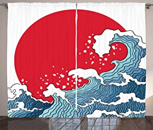 Ambesonne Japanese Wave Curtains, Big Red Sun Setting Scenery Tropical Nautical Artistic Tsunami Swirls, Living Room Bedroom Window Drapes 2 Panel Set, 108 W X 84 L Inches, Red Blue