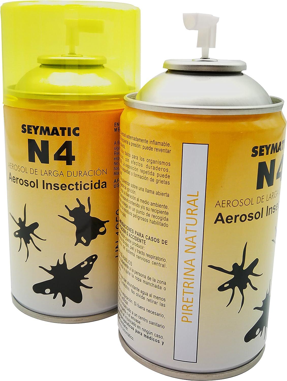 Insecticida Profesional Seymatic N4, con Piretrinas Naturales. Repele y mata fulminantemente Moscas, Mosquitos y cualquier insecto volador. Aroma suave. Pack de 6 insecticidas