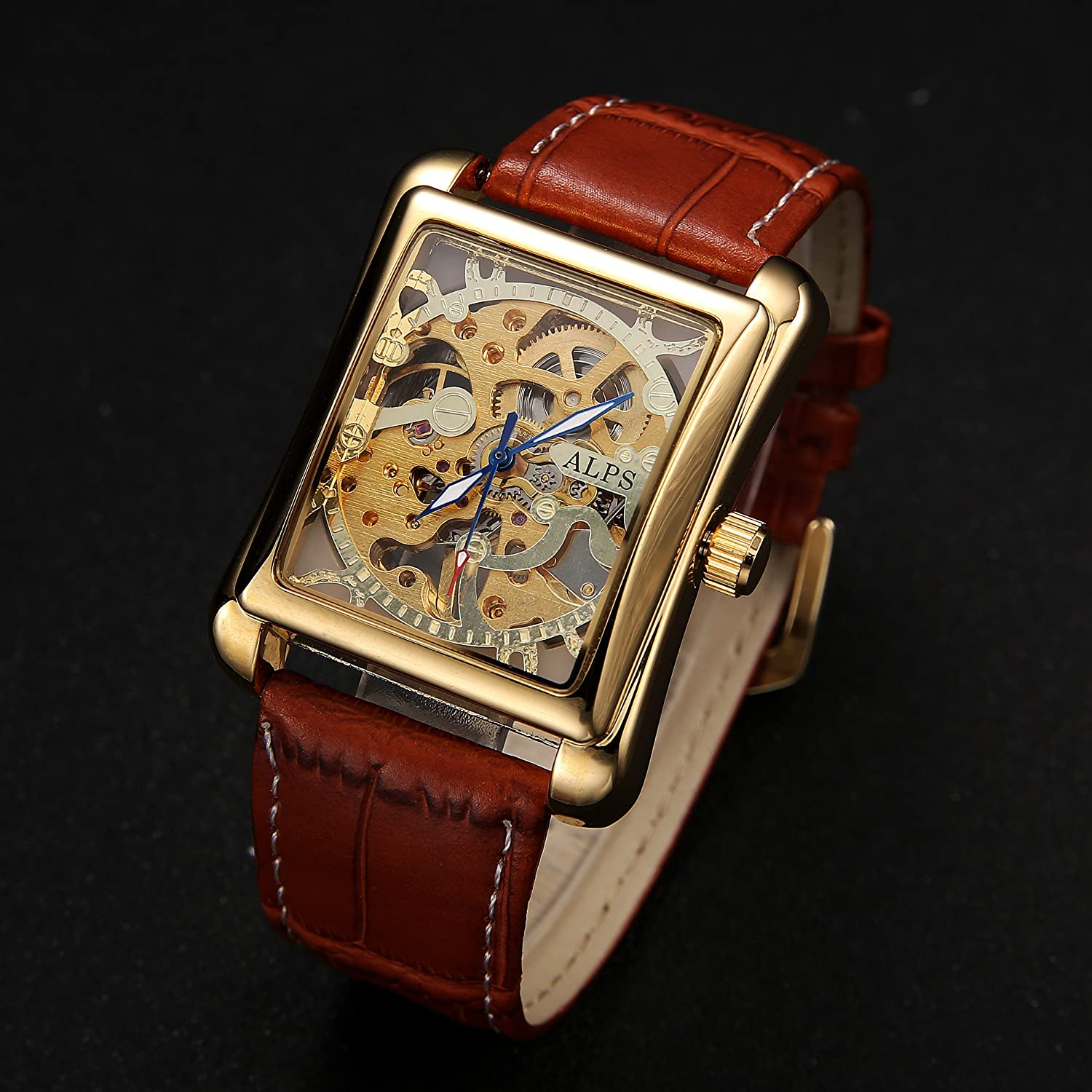 Amazon.com: ALPS Mens Classic Skeleton Hand Wind Automatic Gold Watch with Brown Leather Band Relojes Mecánicos: Watches