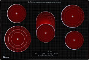 Electric Cooktop, STULENG 5 Burner Cooktop Stove Top 30 Inch Built In Countertop, Radiant Glass Cooktop Infrared Cooker,Sensor Touch Control 9 Heating Level, Timer, Kid Safety Lock, Wiring Black