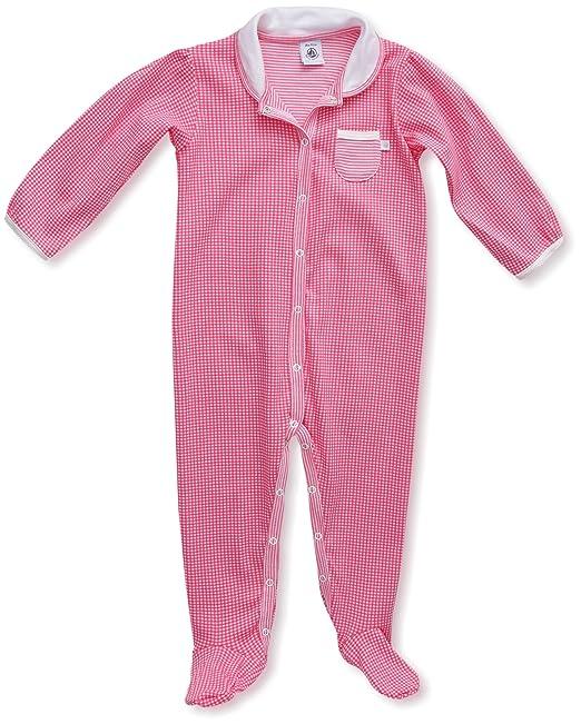 Petit Bateau - Pijama de dos piezas con cuello barco para niña, talla 1 mois