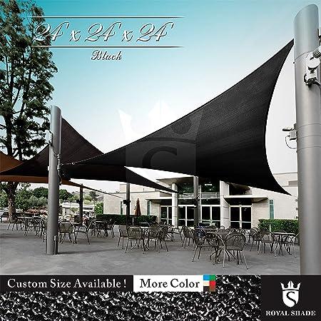 Royal Shade 24 x 24 x 24 Black Triangle Sun Shade Sail Canopy, 95 UV Blockage, Heavy Duty 200GSM, Custom Made Size