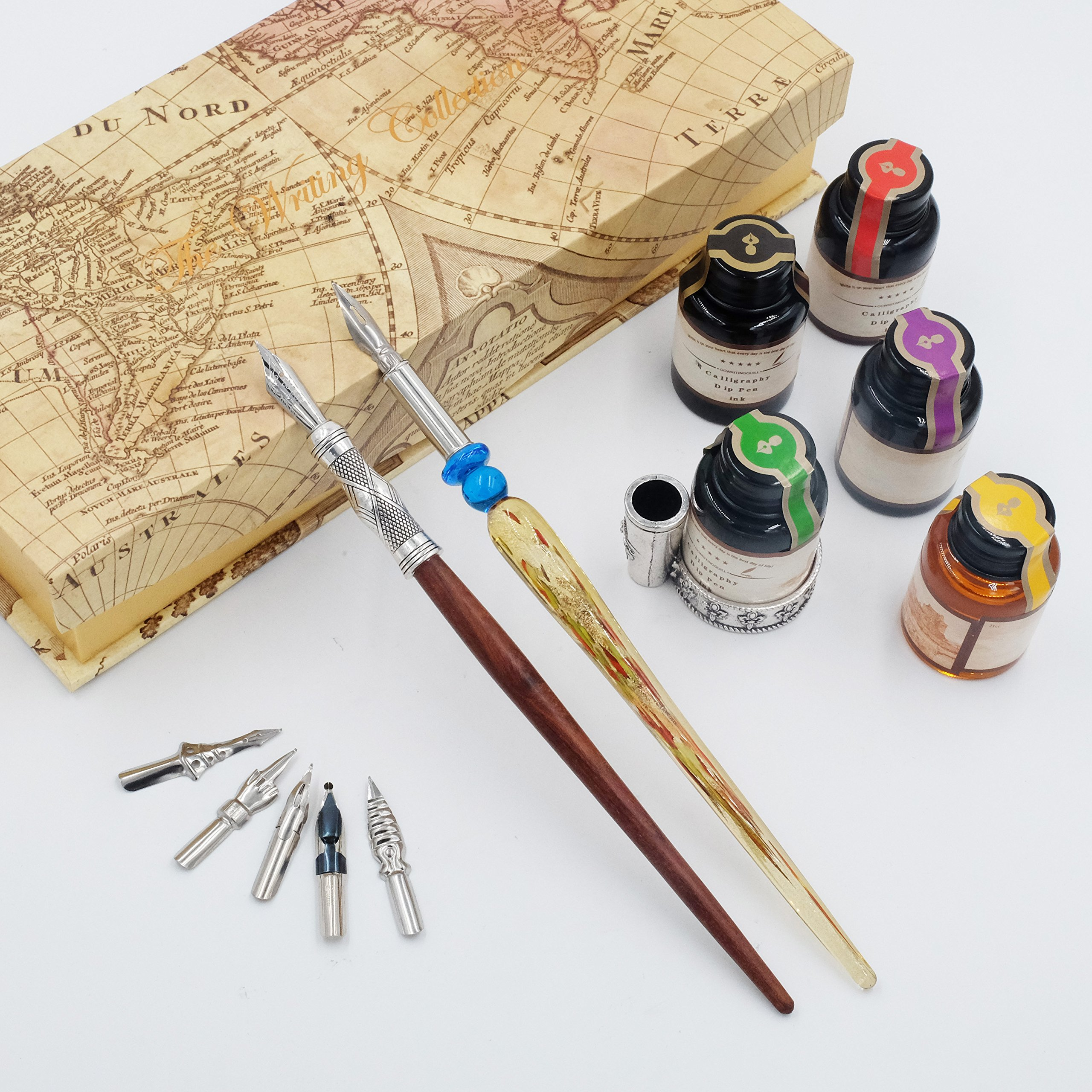 GC QUILL Calligraphy Pen Set-5 Bottle Ink-100% Hand Craft-Wood Pen Stem- Glass Pen Stem-Dip Pen with 7 Nibs&1 Pen Holder by GC QUILL (Image #2)