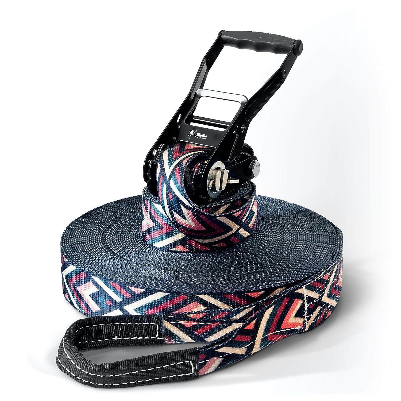 'Slackline Set 15, 25or 35Length & 5cm Width Striving Design Hard Cover Case with Tree and Ratchet & Sport Secoroco/Carry Bag Slackline Set with 15