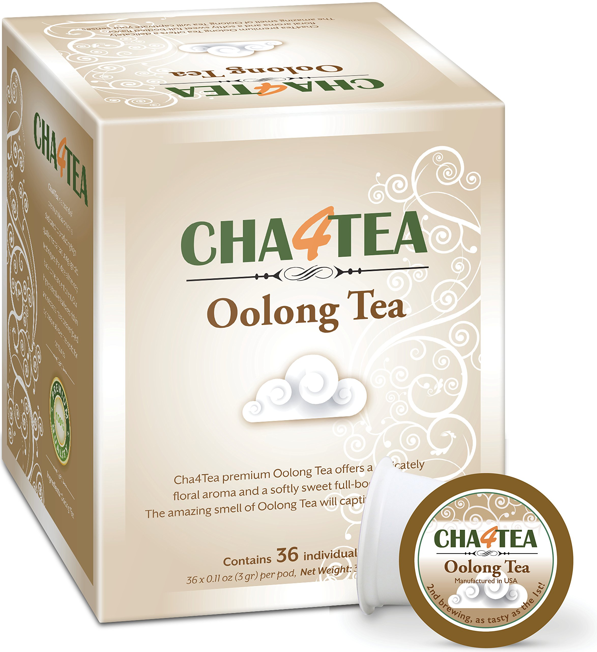 Cha4TEA 36 Oolong Tea K Cups for Keurig K-Cup