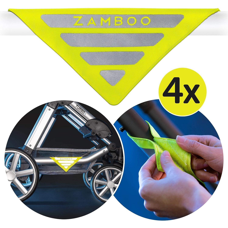 Zamboo Réflecteurs Universels pour Poussette - 4 pièces | Réflecteur de sécurité avec Velcro | Idéal pour Poussettes, Landaus ou Remorques de Vélo - Jaune néon