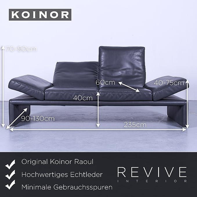 koinor Raoul Designer piel sofá gris antracita Tres Plazas ...
