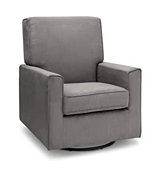 Delta Furniture Ava Upholstered Glider Swivel Rocker Chair, Graphite