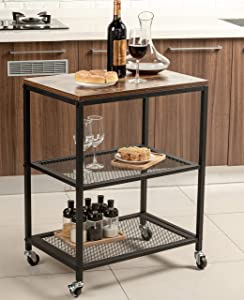 Tayene Bar Serving Cart Home Myra Rustic Mobile Kitchen Serving cart,Industrial Vintage Style Wood Metal Serving Trolley (Rustic Brown-B)