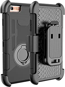 E LV Holster Case iPhone 6S Plus / 6 Plus - Shock-Absorption/High Impact Resistant Armor Protective Case Cover with Kickstand and Belt Swivel Clip for iPhone 6S Plus / 6 Plus