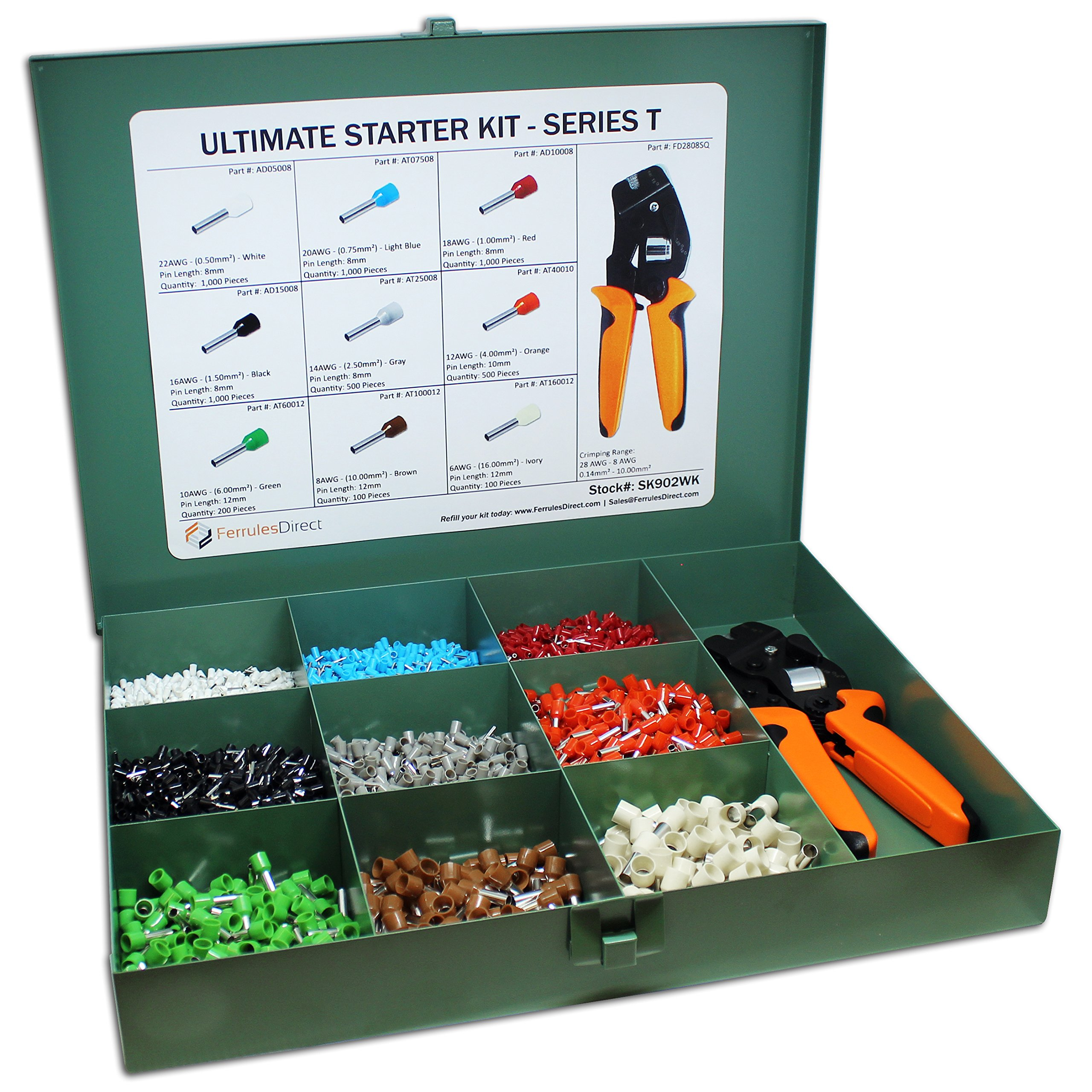 5400 Piece Wire Ferrules Ultimate Kit with Square Profile Crimping Tool-22 AWG to 6 AWG Insulated Connectors-SK902WK by Ferrules Direct
