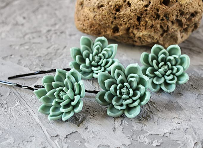 c4f2922ae6d2 Summer wedding hair accessories handmade Gray green succulent hair flower  bobby pin for bride bridesmaid set maid of honor Floral hair pin Nature  hairpiece ...