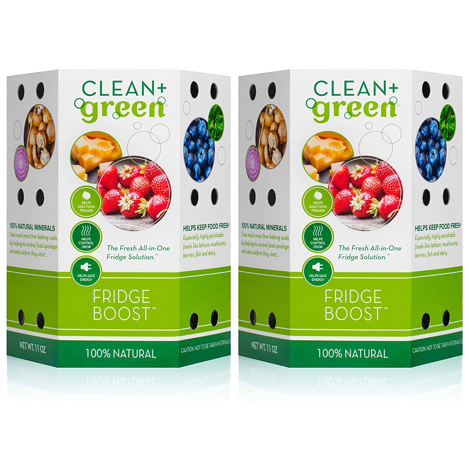 Clean+Green Fridge Boost Refrigerator and Freezer Deodorizer and Smell Remover Keeps Food Fresh Longer and Eliminate Odors- Baking Soda Alternative (2-Pack) - Refresh Every 90 Days