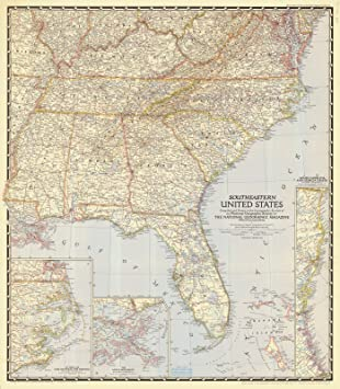Amazon.com: Map - Southeastern United States, 1947 NOAA ...