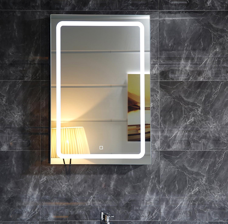 Miroir de salle de bain Miroir lumineux gs041 avec éclairage LED tactile interrupteur mural Miroir 50 x 70 cm Lumi