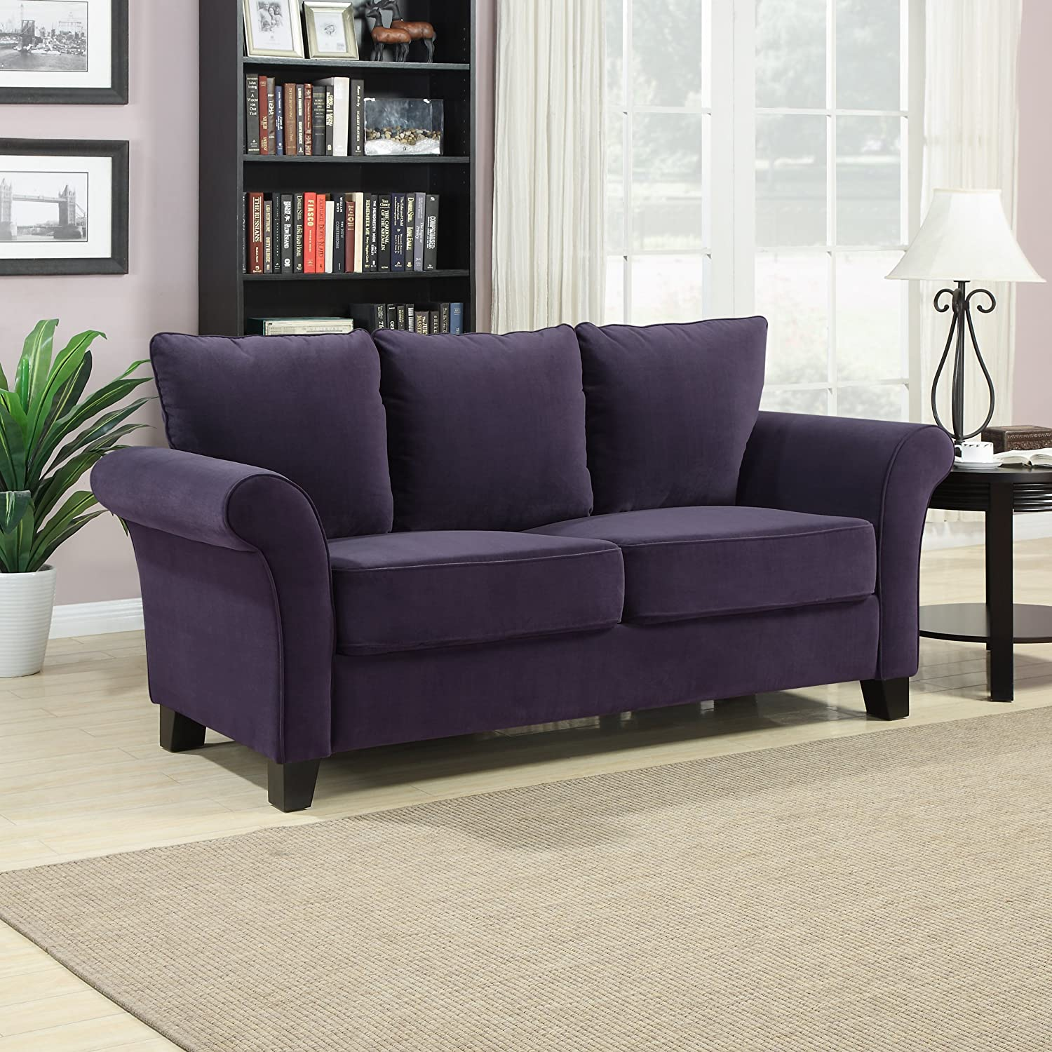Amazon Handy Living Milan Sofa Plum Velvet Kitchen & Dining