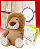 Warmies Geschenkset - Kuscheltier Beddy Bears Löwe mit Lavendelduft Wärmekissen + Edle Geschenkverpackung + Büchlein mit spannenden Kindergeschichten