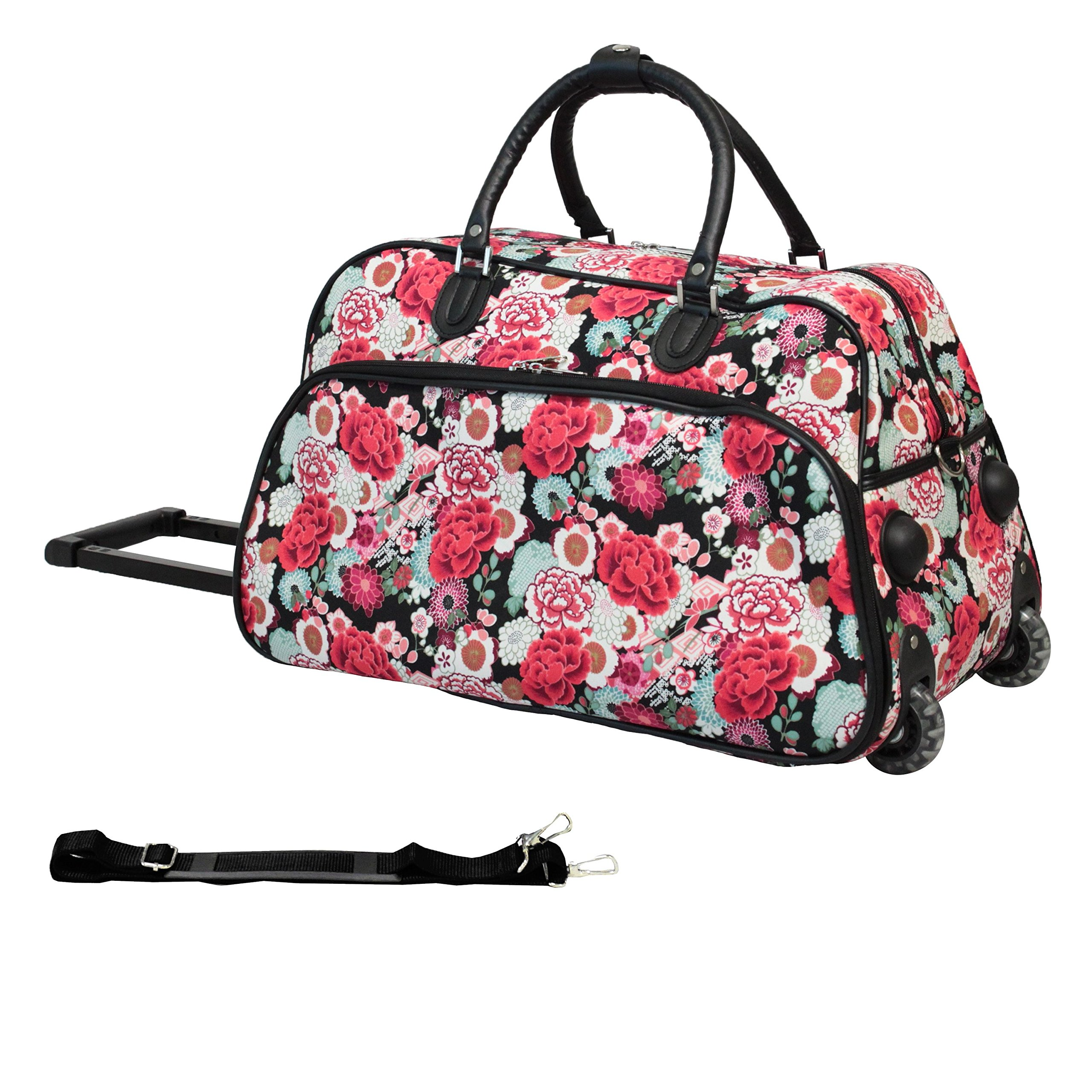 DH Girls Red Pink Floral Pattern Wheeled Duffle Bag Upright Rolling Duffle, Beautiful All Over Bohemian Flowers Print Carry on Duffel, Travel Wheeled Duffel with Wheels, Wheeling Luggage, Fashionable