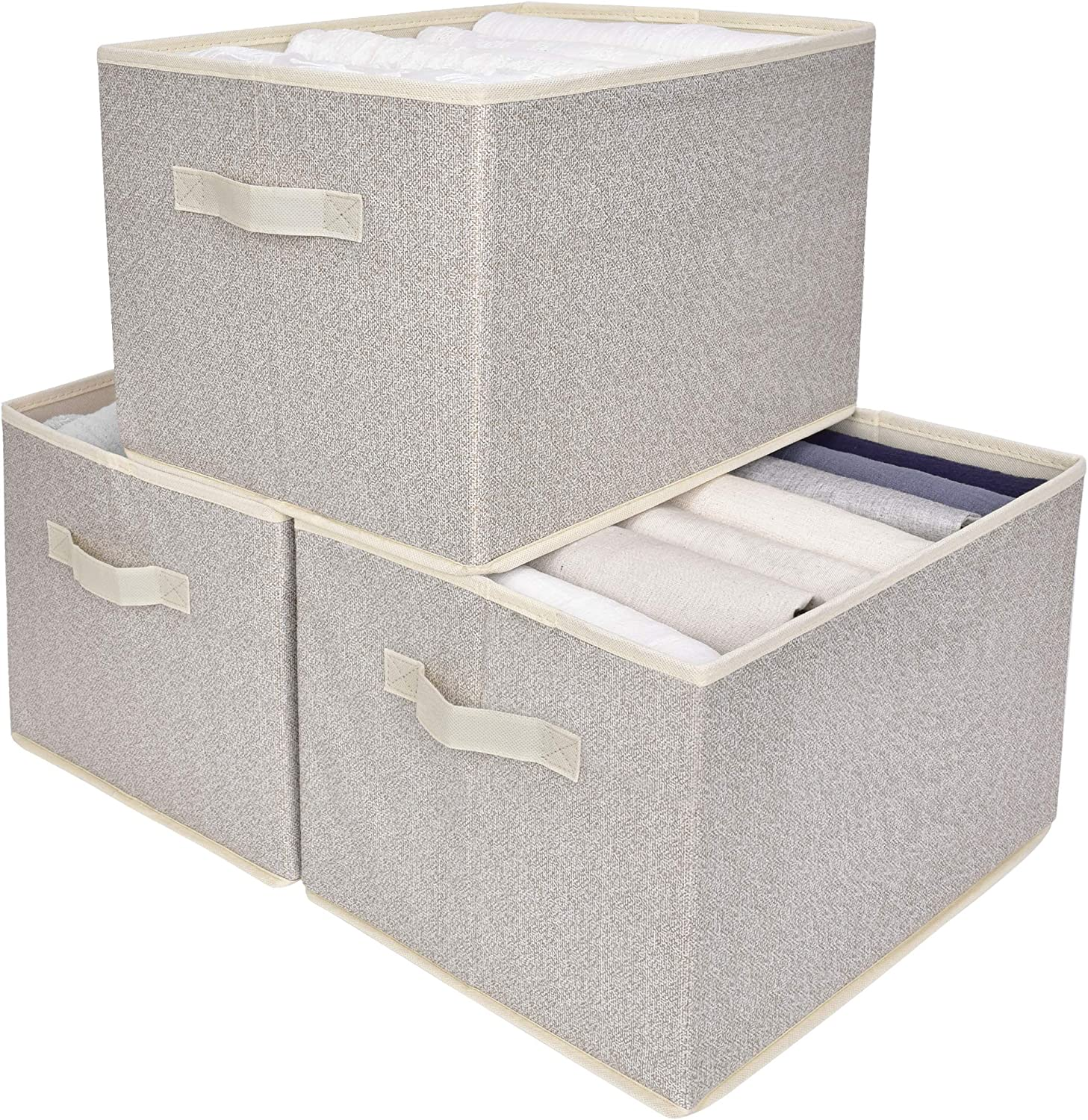 GRANNY SAYS Storage Bin for Shelves, Fabric Closet Organizer Shelf Cube Box with Handle Home Office Storage Baskets, Beige, Extra Large, 3-Pack