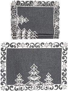 Xia Home Fashions Christmas Tree Placemat, 14''x20'', Dark Gray