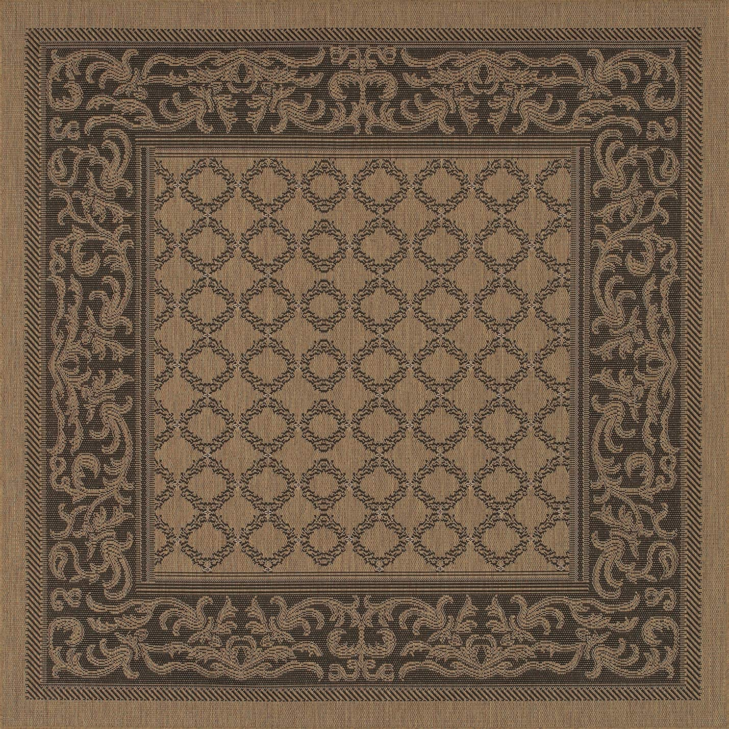 Couristan 1016 2000 Recife Garden Lattice Cocoa Black Rug, 7-Feet 6-Inch Square