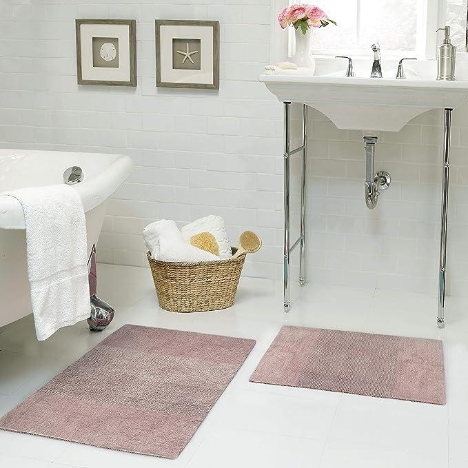 Amazon Com Juicy Couture Brooklyn Vintage Reversible Bath Rug 17 X24 20 X34 Dusty Blush Home Kitchen