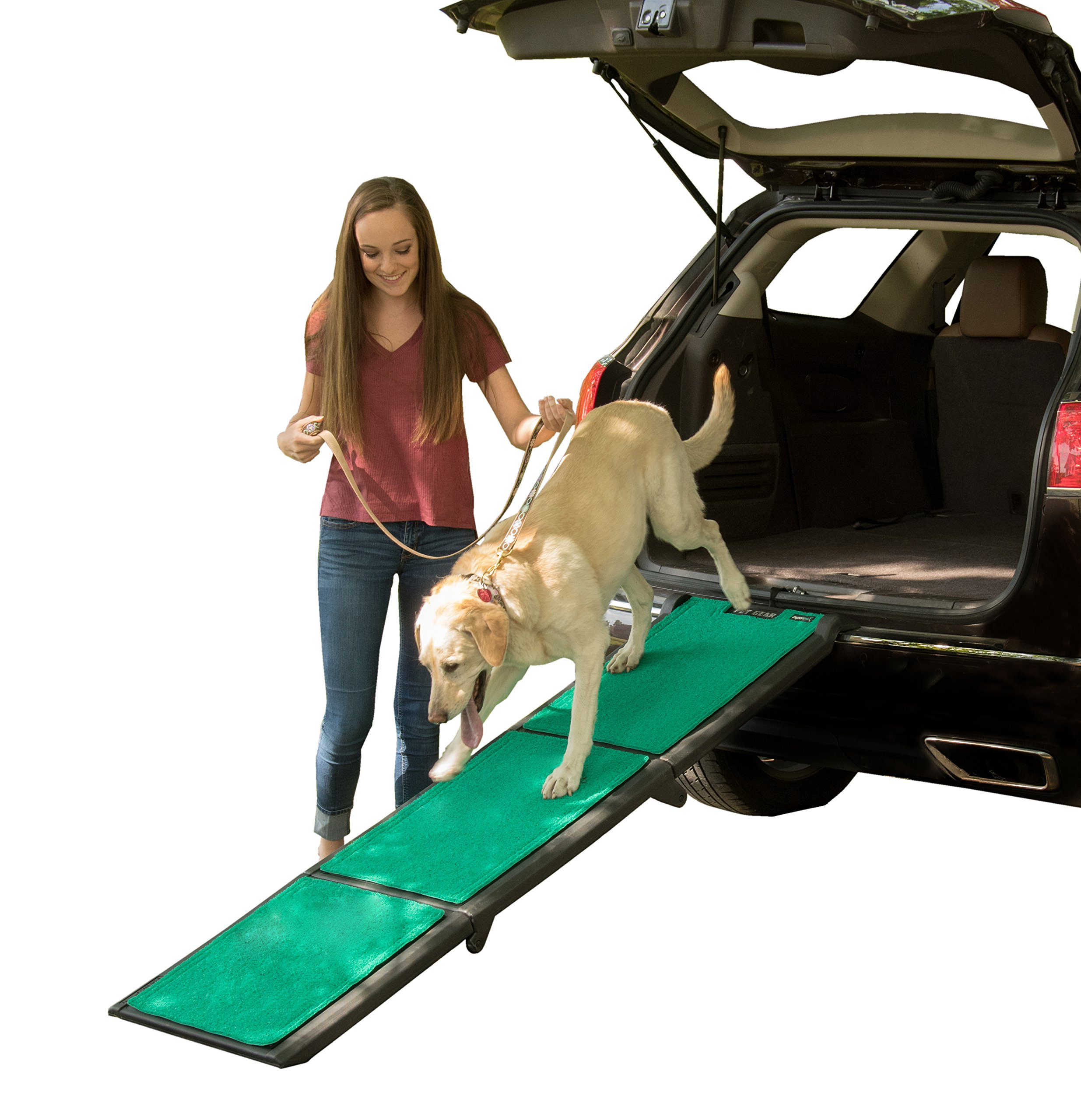 Pet Gear Tri-Fold Pet Ramp with SupertraX, Black/Green by Pet Gear