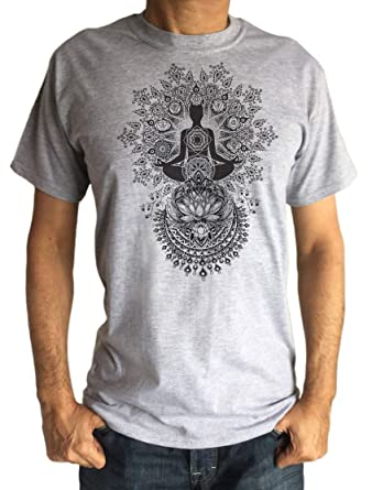Camiseta de Hombre Yoga Lotus Line Art Meditation India Zen ...
