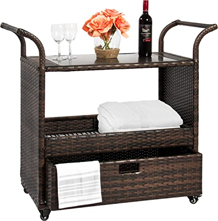 Amazon Com Best Choice Products Outdoor Patio Wicker Serving Bar Cart W Locking Wheels Glass Table Top And Pullout Drawer Brown Garden Outdoor