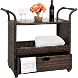 Best Choice Products Outdoor Patio Wicker Serving Bar Cart