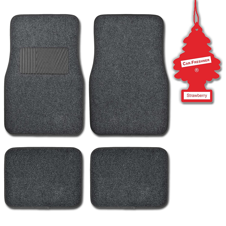 BDK Charcoal 4 Pc Premium Carpeteded Car Mats w// Heel Pad Little Tree Strawberry