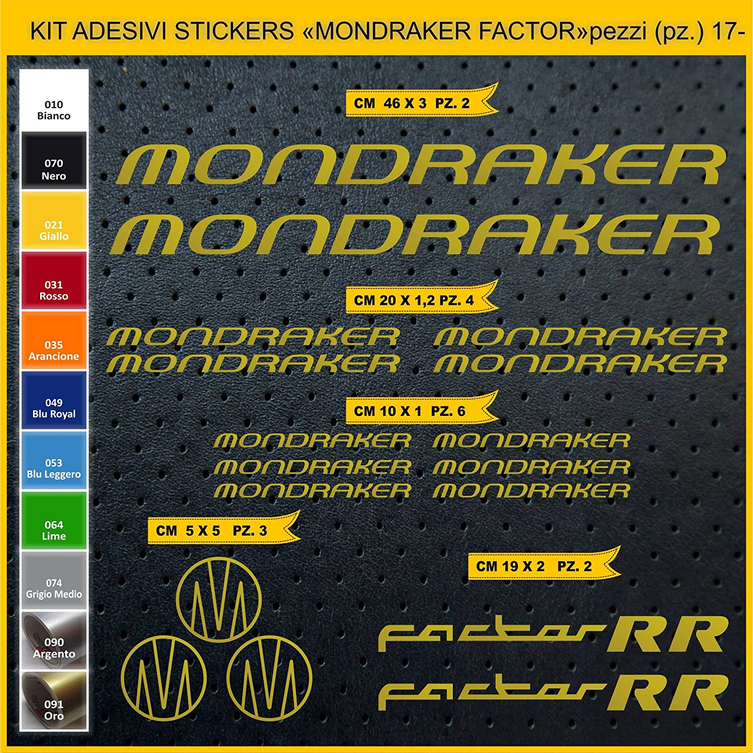 Kit Pegatinas Stickers Bicicleta MONDRAKER Factor RR -Kit 2-17 Piezas- Bike Cycle Cod. 0882 (091 Oro): Amazon.es: Deportes y aire libre