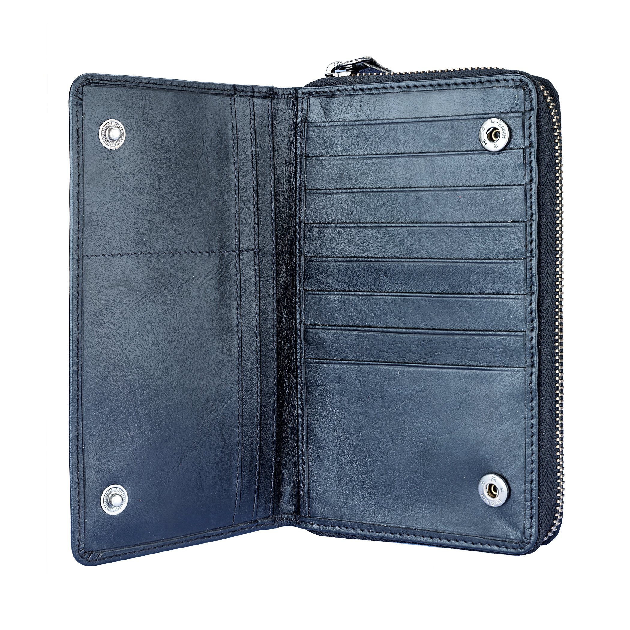 Leather Bifold Travel Wallet Passport Black|Finelaer by FINELAER (Image #2)