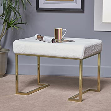 Enjoyable Christopher Knight Home Melantha Glam White Furry Bench With Gold Metal Legs Dailytribune Chair Design For Home Dailytribuneorg