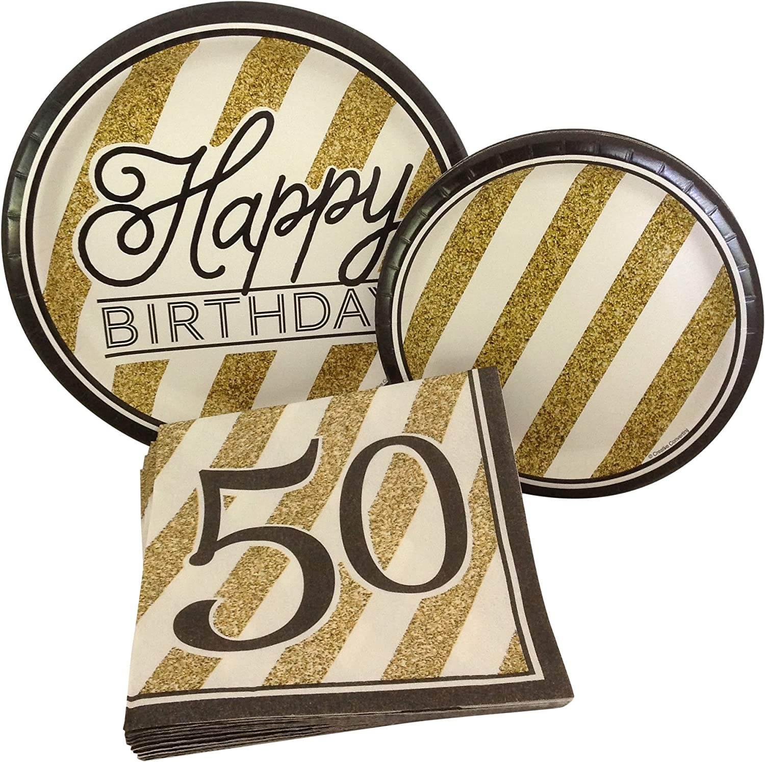 Black and Gold Happy 50th Birthday Party Bundle with Paper Plates and Napkins for 8 Guests
