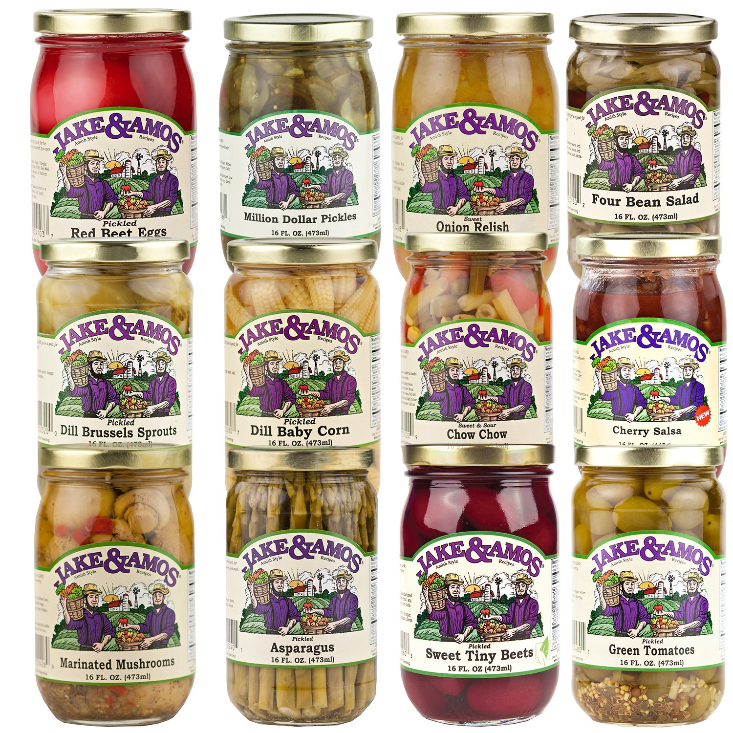 Jake & Amos Pickles, Pickled Vegetables, Pickled Eggs and Salsa Mega Gift Pack (1-16 oz. Jar Each of 12 Varieties) by Jake & Amos®