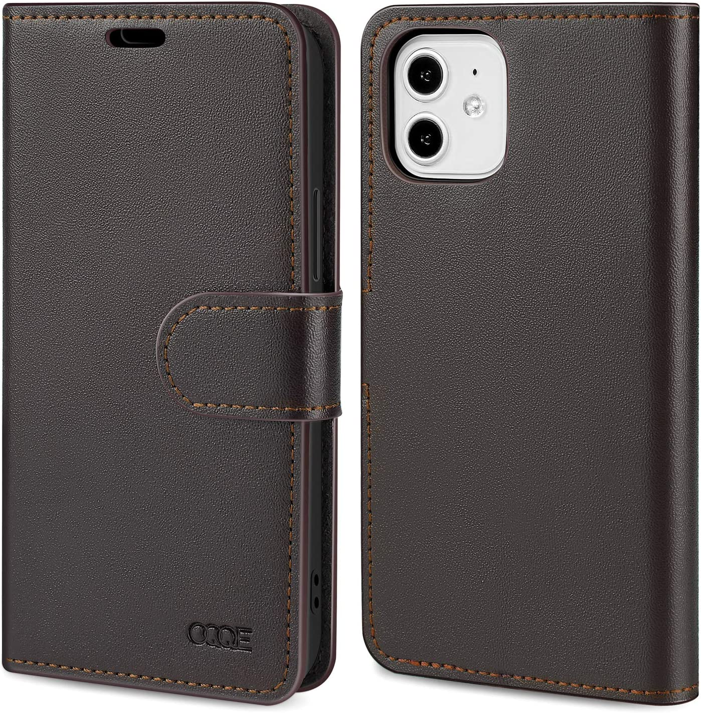 """OQQE Compatible with iPhone 12/12 Pro 6.1"""" Wallet Case,Cowhide Genuine Leather Flip Cover Shell [RFID Blocking] 3 Card Slots and 1 Cash Clip, with [Kickstand Function]"""