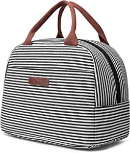 LOKASS Lunch Bag Cooler Bag Women Tote Bag Insulated Lunch Box Water-resistant Thermal Lunch Bag Soft Leak Proof Liner Lunch Bags for women/Picnic/Boating/Beach/Fishing/Work (White)
