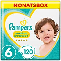 Pampers Premium Protection, Gr.6, Extra Large, 13-18kg, Monatsbox, 1er Pack (1 x 120 Stück)
