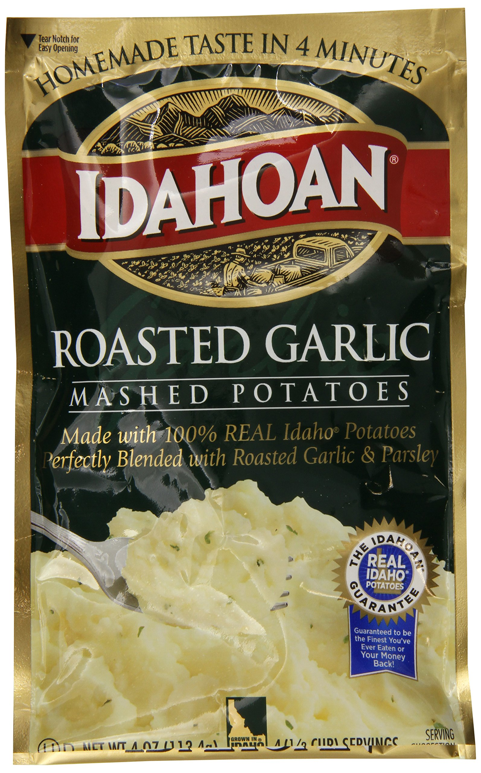 Idahoan Mashed Potatoes, Roasted Garlic, 4-Ounce Package (Pack of 12)