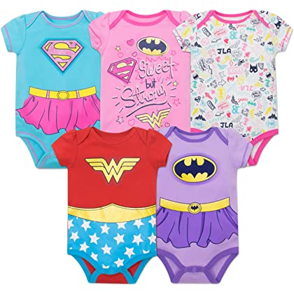 7156c73d2 Justice League Baby Girls' 5 Pack Onesies - Wonder Woman, Batgirl and  Supergirl (18M)