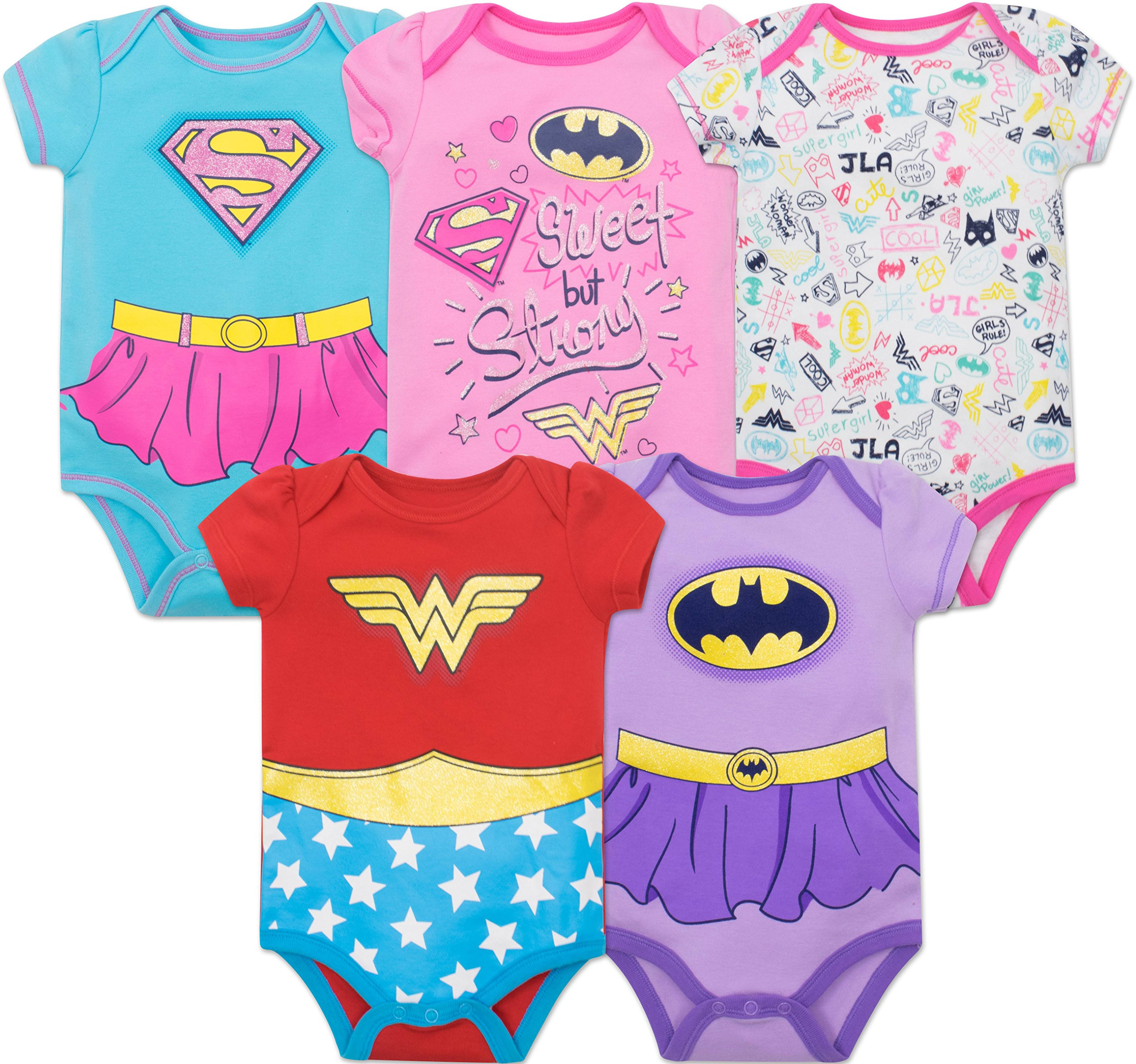 Justice League Baby Girls' 5 Pack Onesies - Wonder Woman, Batgirl and Supergirl (3-6M)