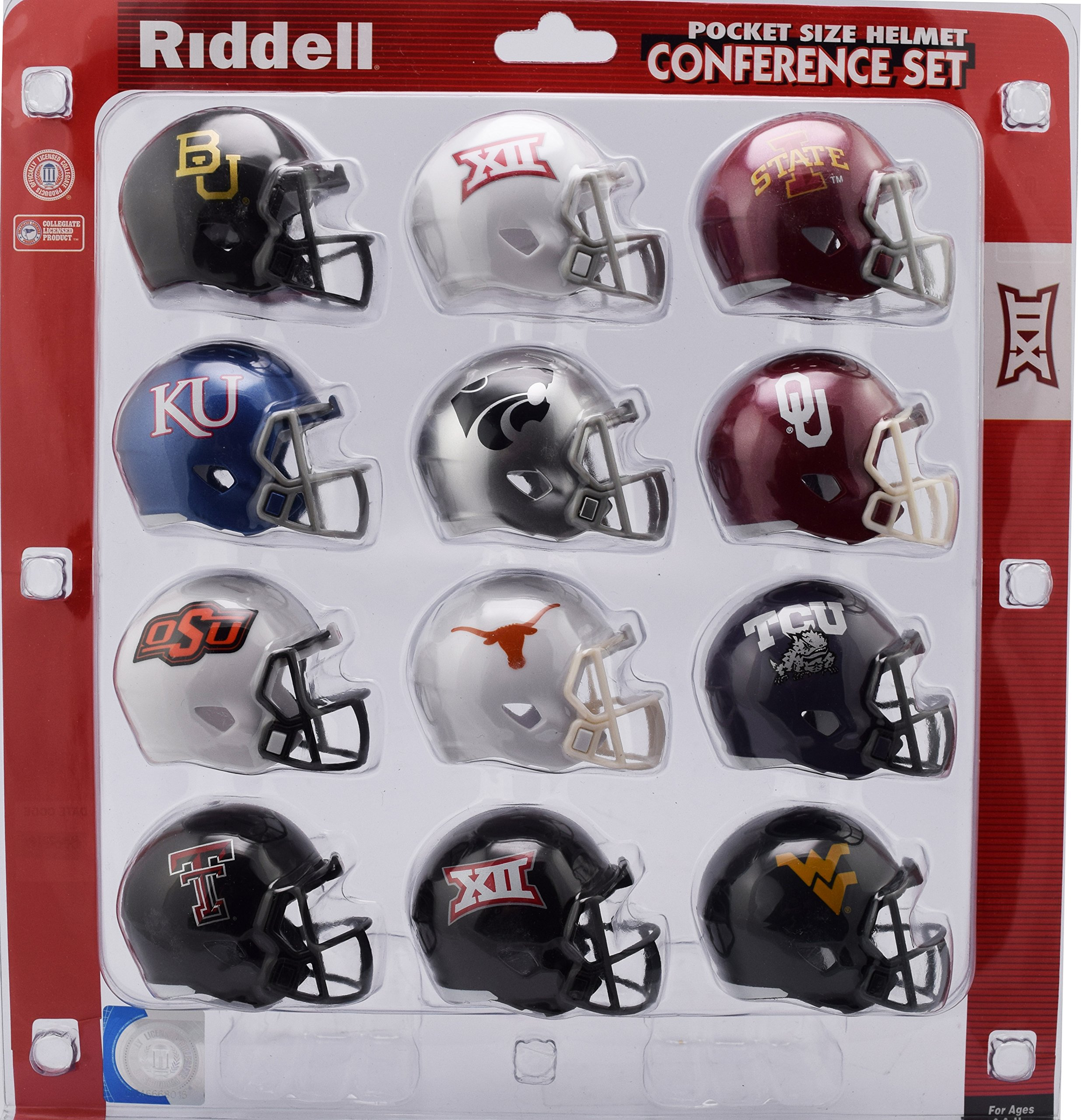 Riddell Pocket Pro Speed Helmet Big XII 12 Conference Set 12 Helmets Baylor, Iowa St, Kansas, Kansas St,Oklahoma,Oklahoma St,Texas,TCU, Texas Tech, West Virginia, 2 Big XII Logo Helmets 2018 Set